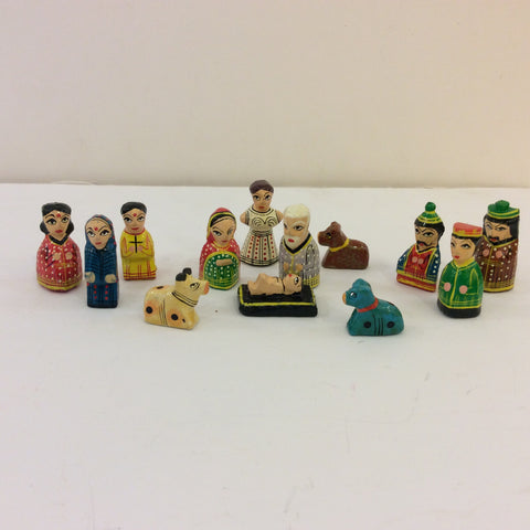 Polka Dotted Mini Nativity from India, Set of 13