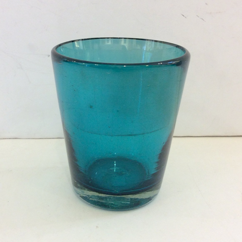 Mexican Glass V-shaped Tumbler - Solid Teal