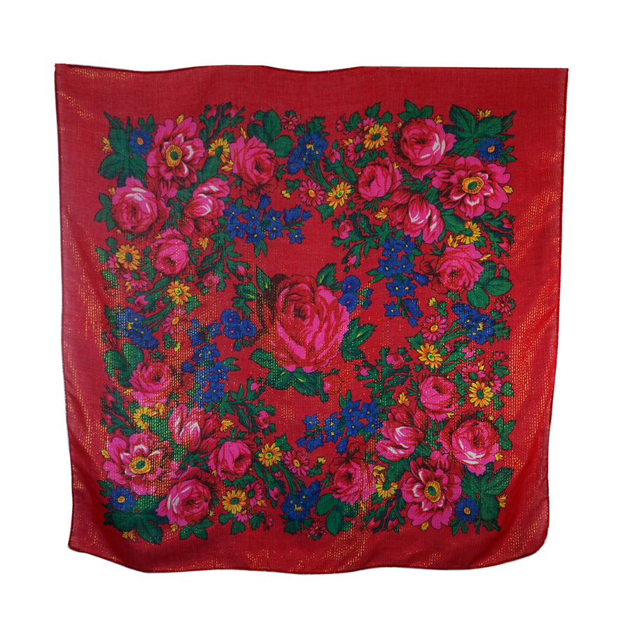 Floral Bandana Red