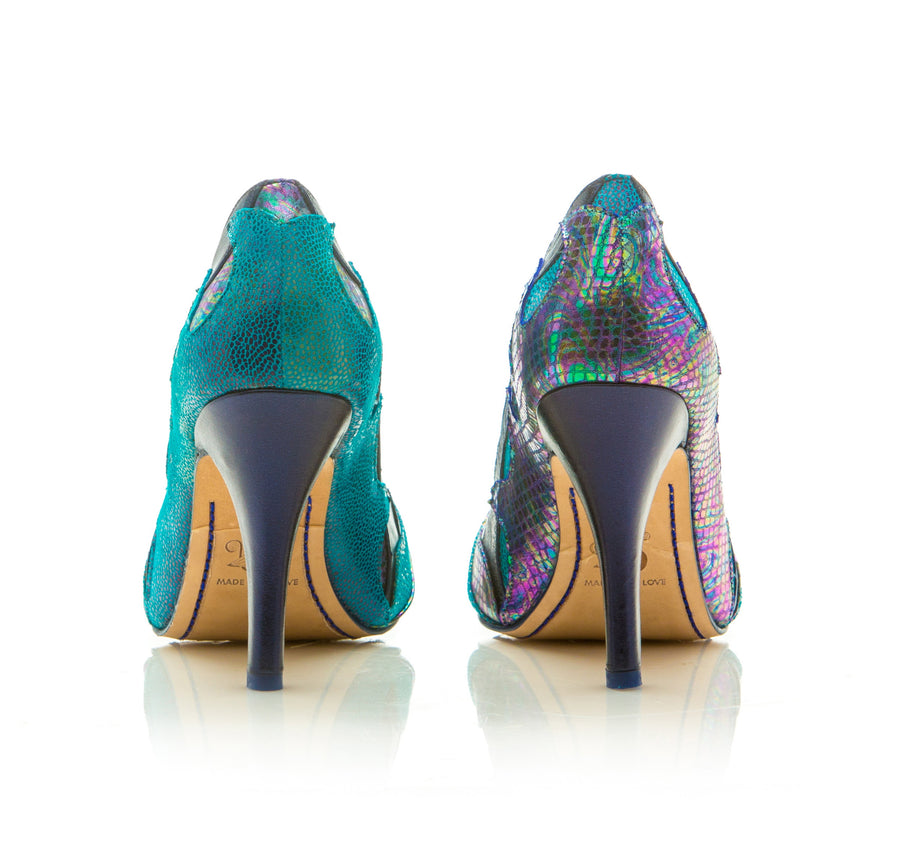 Sara Melissa Designs Leather Pump Blue Purple Sirena Waves