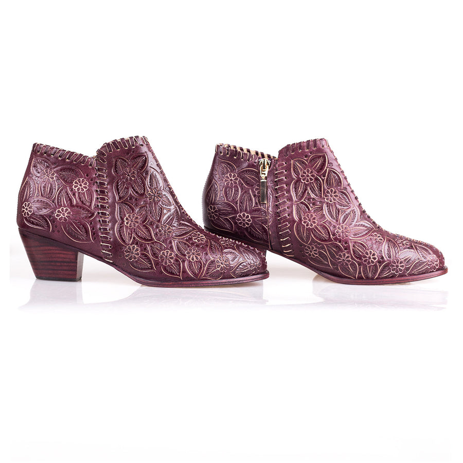 Sara Melissa Designs Shoes Ankle Bootie Hand Tooled Leather Burgundy