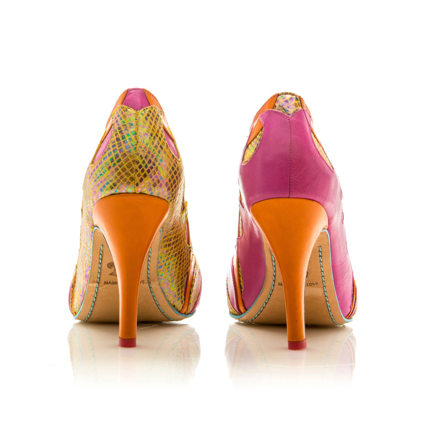 Sara Melissa Designs Leather Pump Pink Orange Sirena Waves