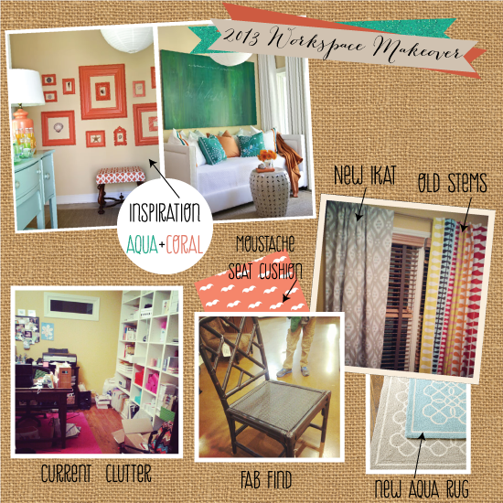 2013 Workspace Makeover Aqua and Coral