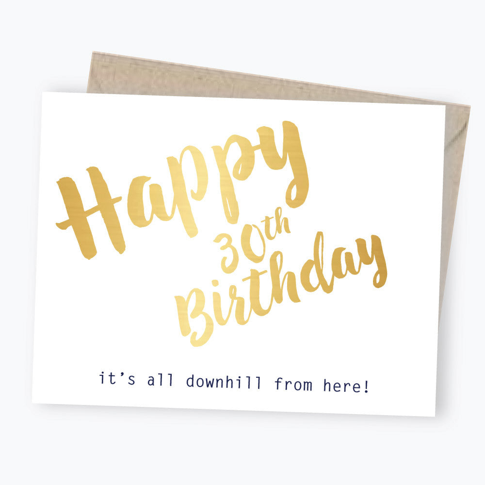 30th birthday card gold foil