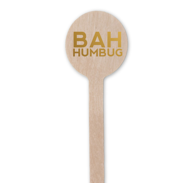 bah humbug cocktail stirrers in gold foil