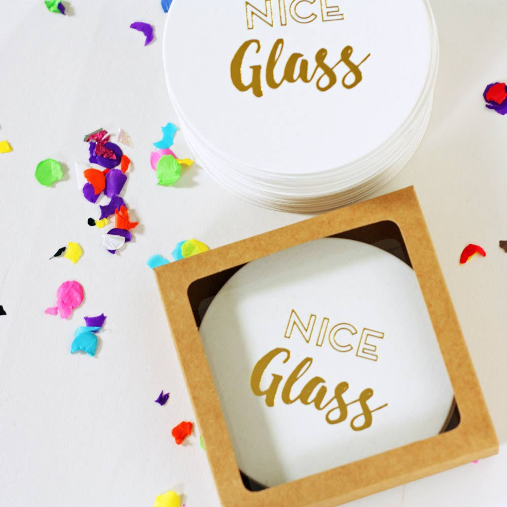 nice glass gold foil coasters hostess gifts