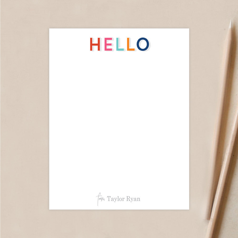 Personalized Stationery | Multi Color Hello