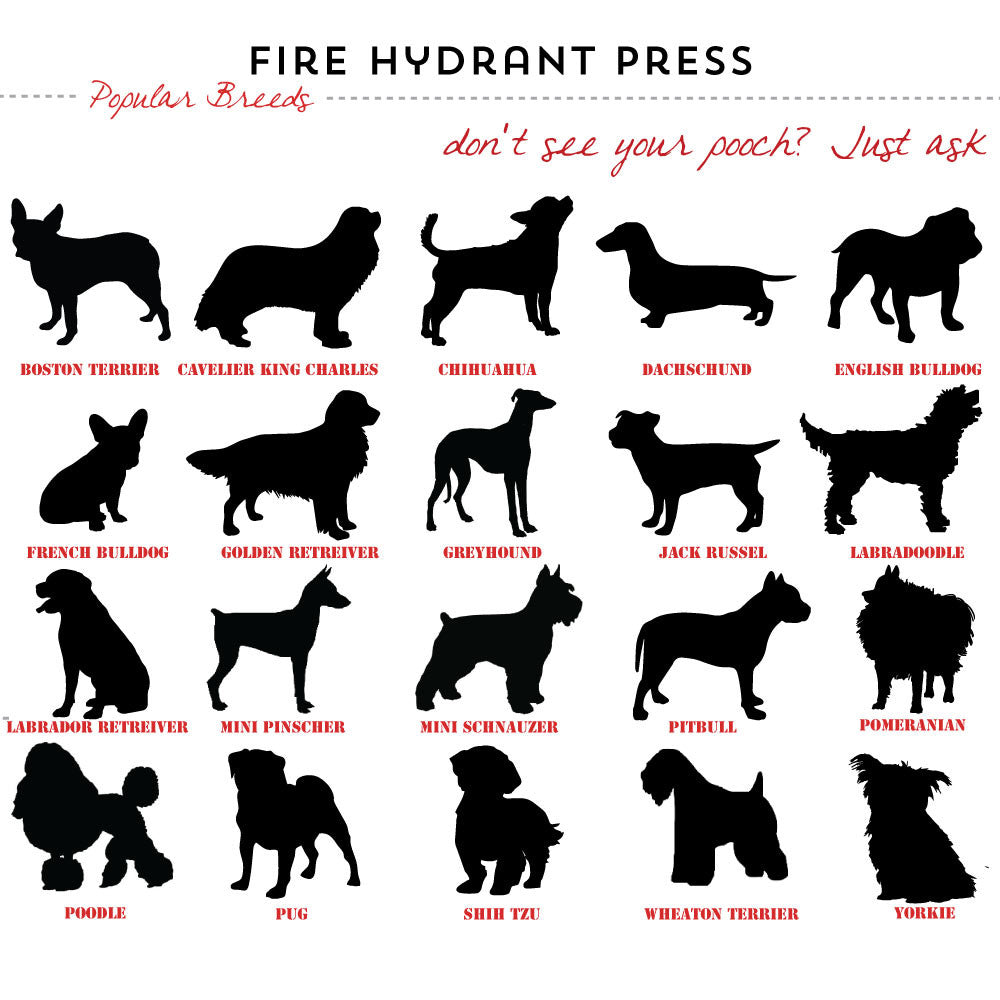 popular dog breed silhouettes for Fire Hydrant Press