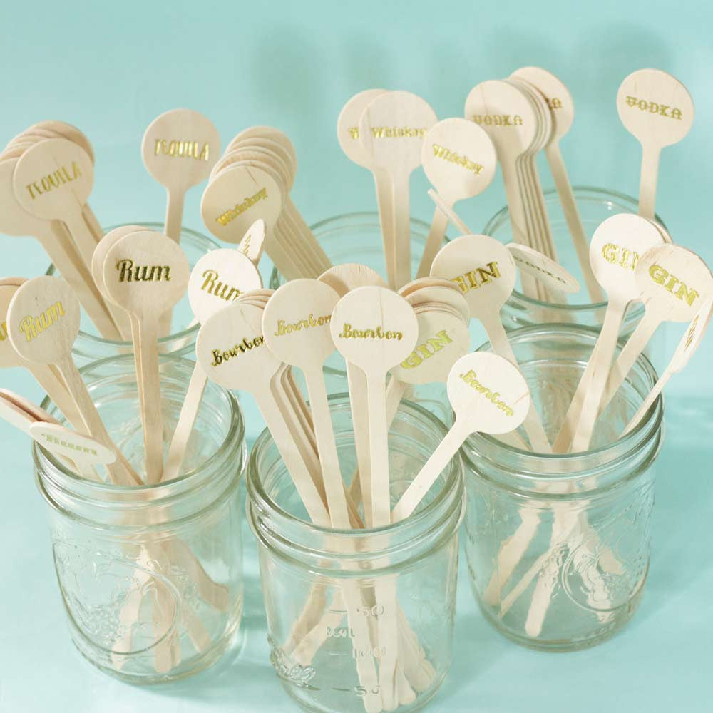 gold foil drink stirrers