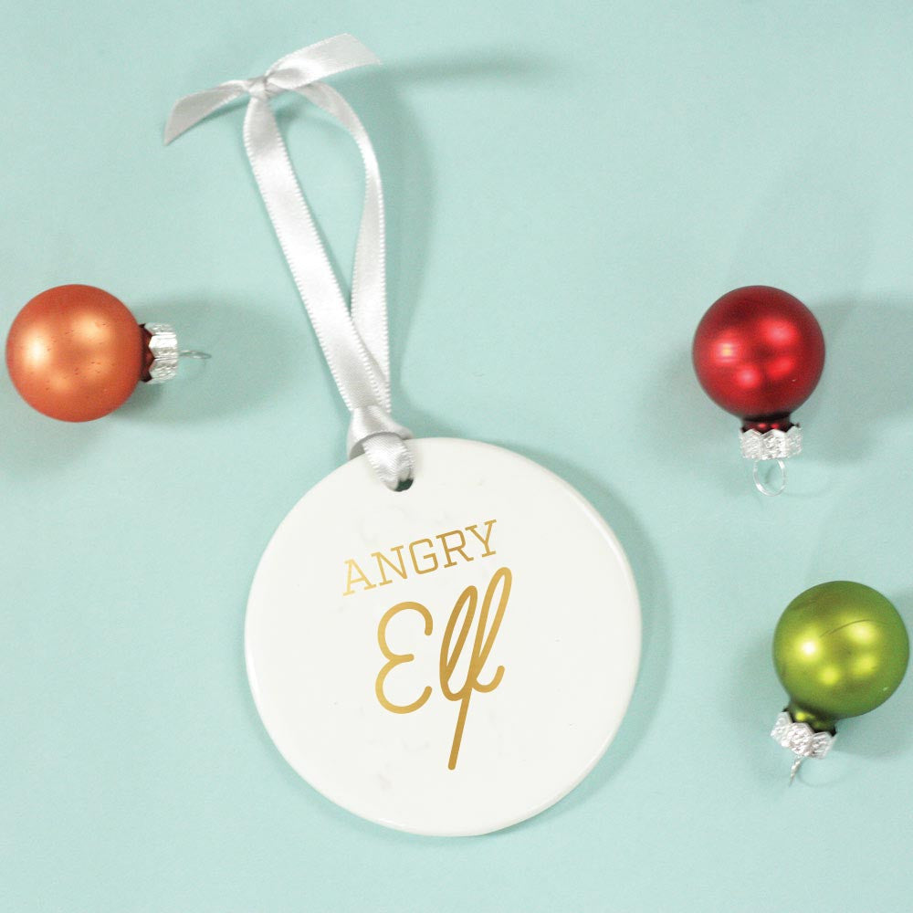 angry elf christmas ornament