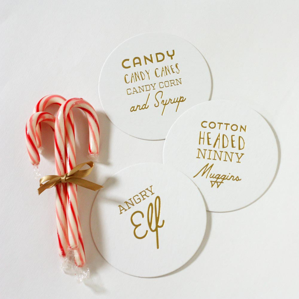 Gold Foil Elf Movie Coasters