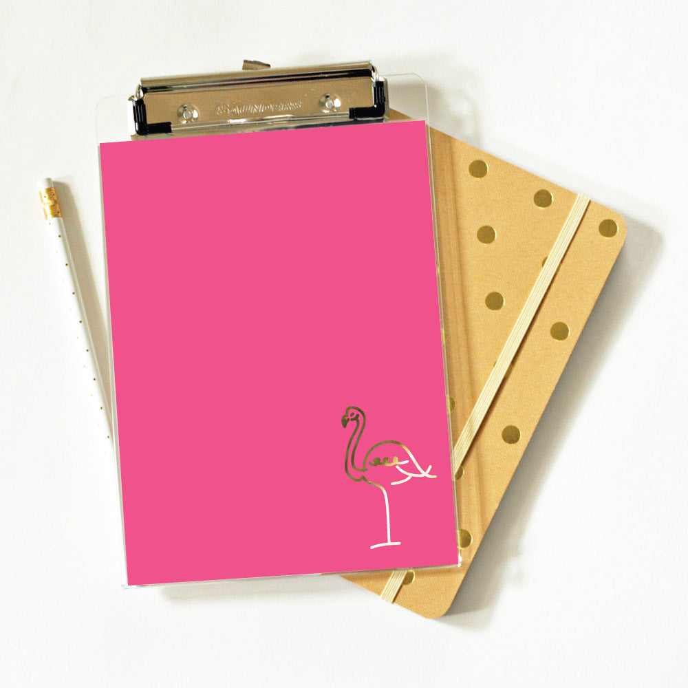 flamingo clipboard in gold foil