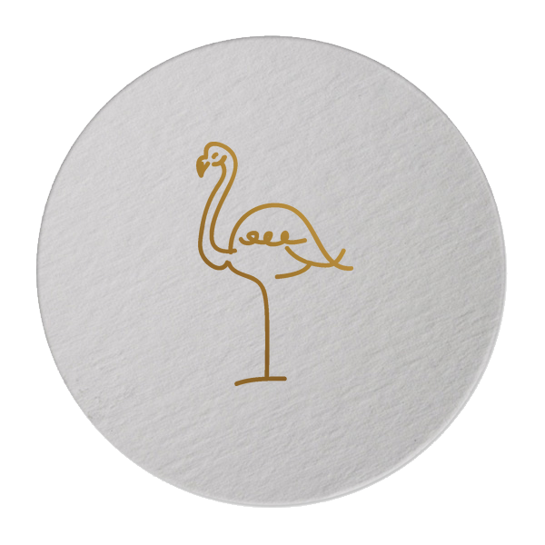 gold foil flamingo coasters
