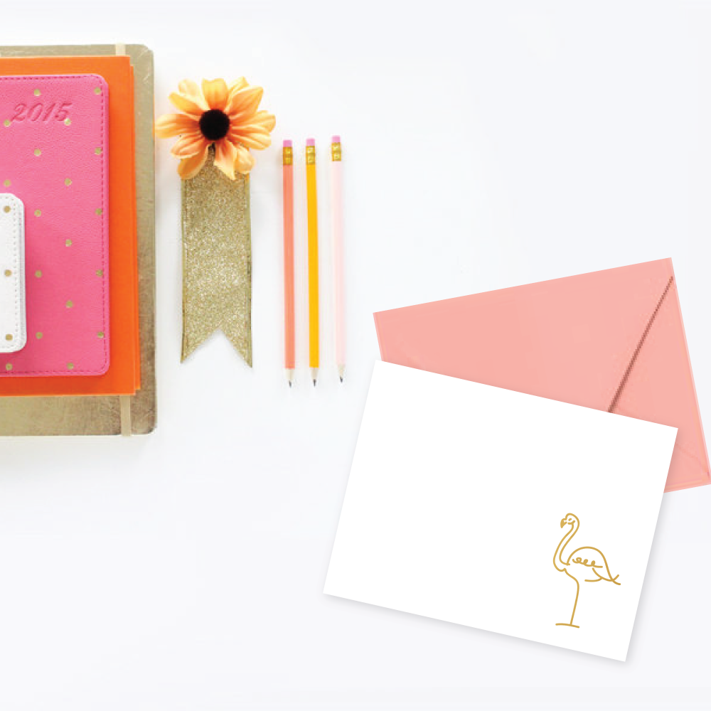flamingo stationery gold foil
