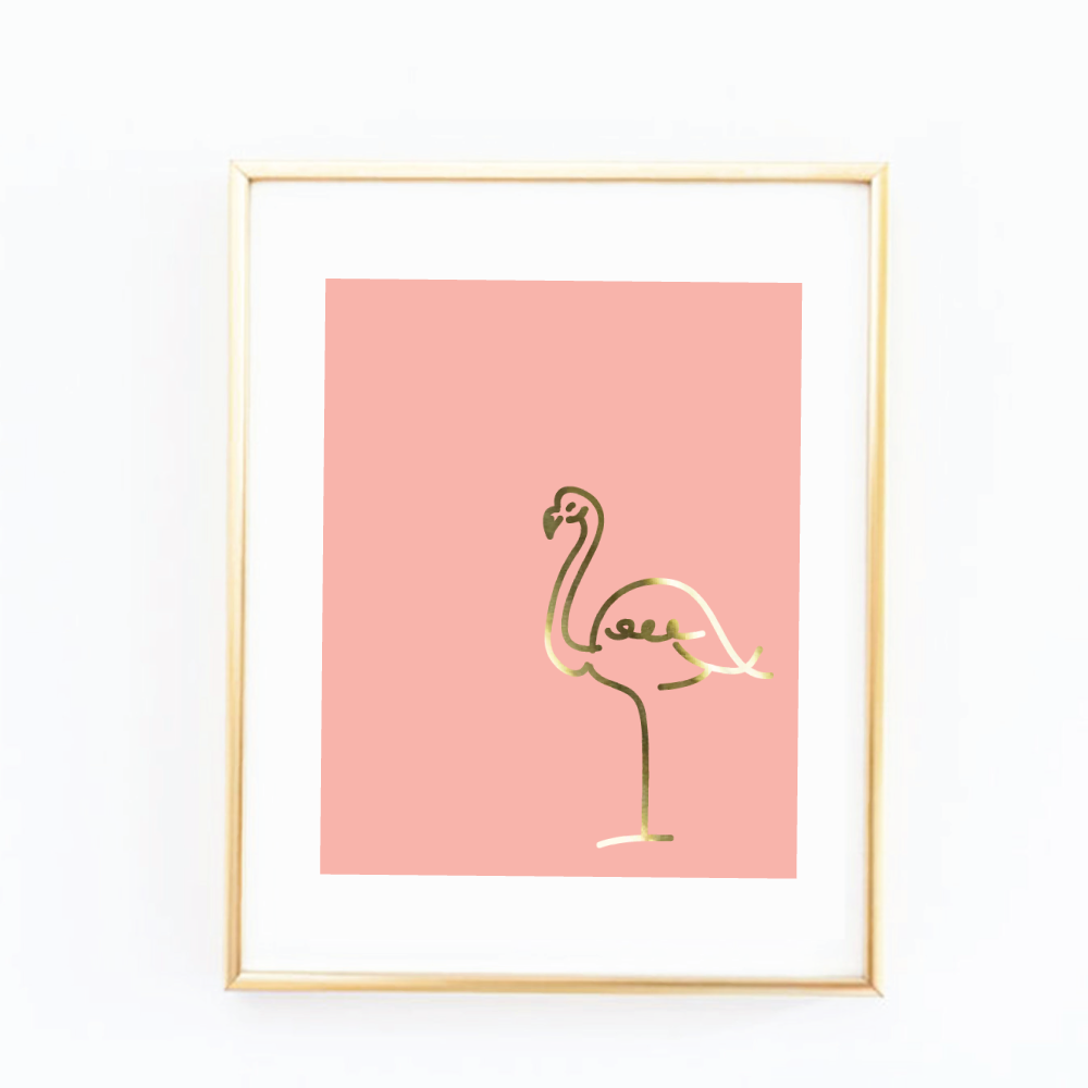 gold foil flamingo art print