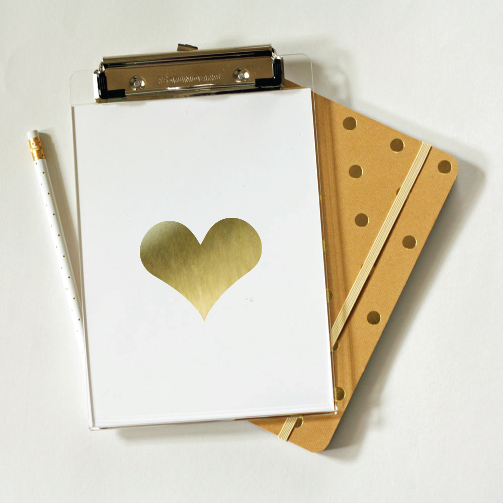 gold foil heart clipboards