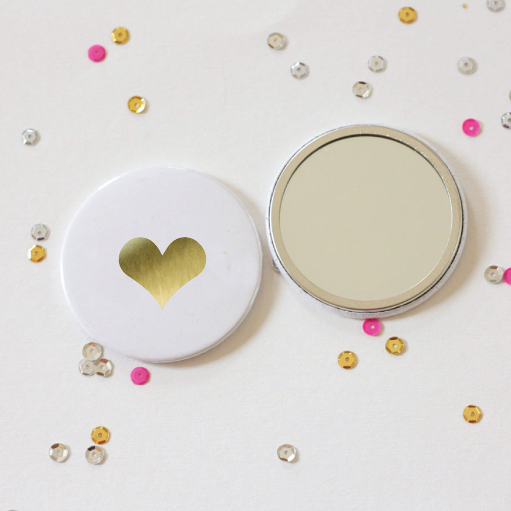 gold foil heart pocket mirror