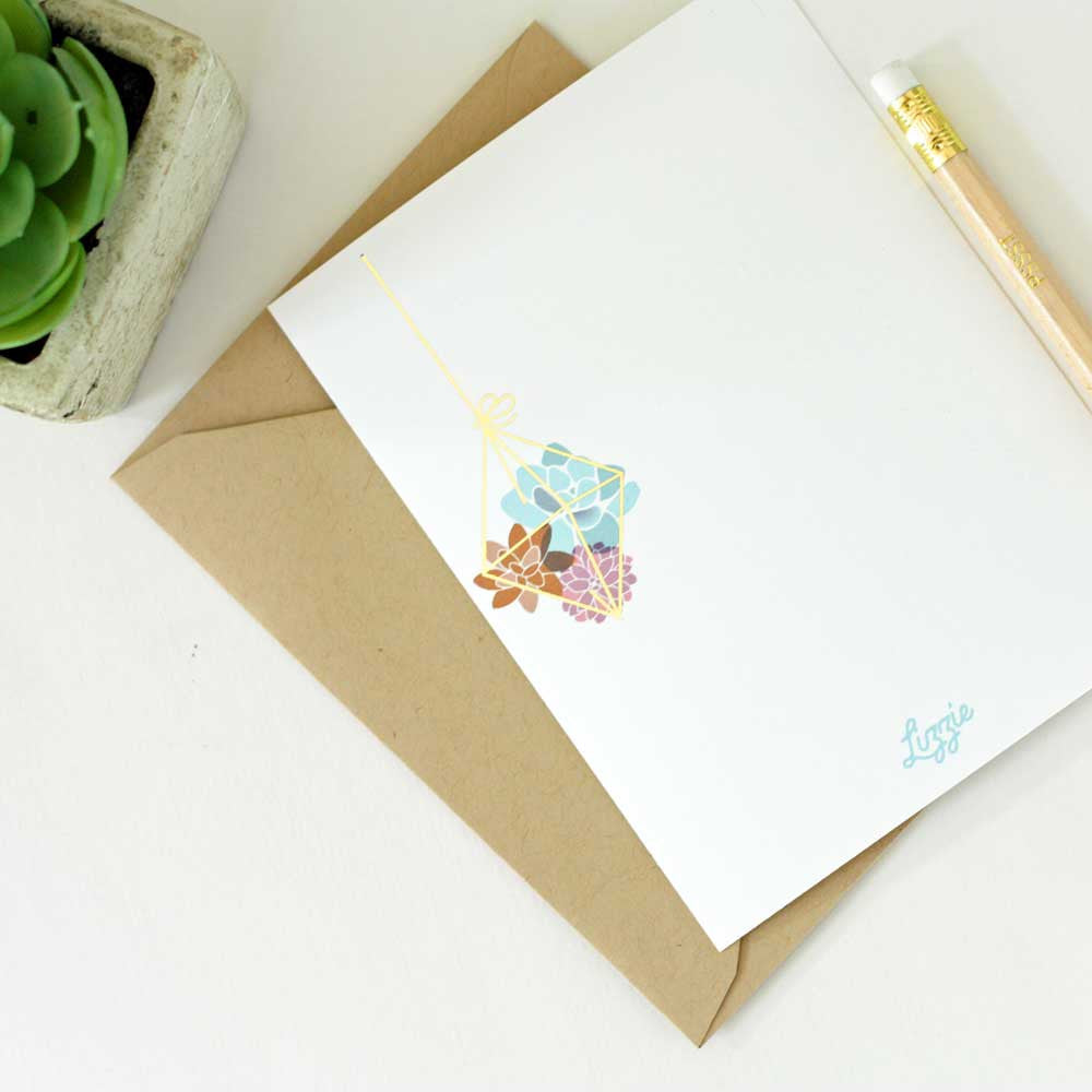 Hanging Succulents Personalized Stationery