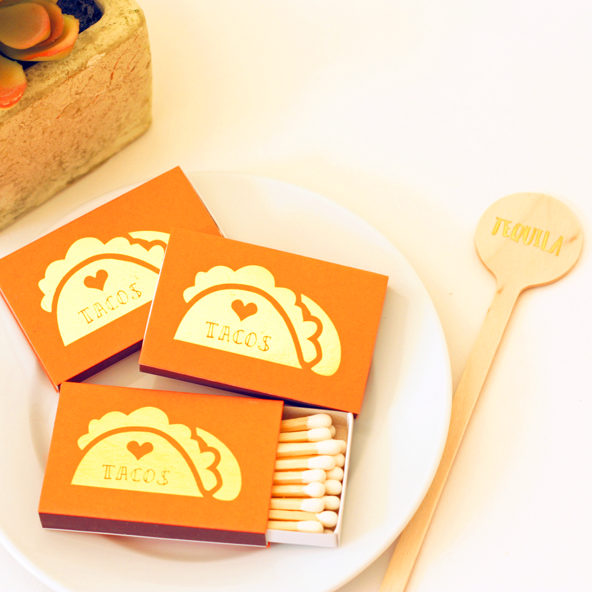 taco matches in gold foil