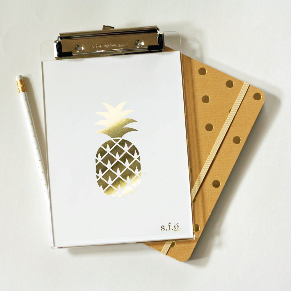 gold foil pineapple clipboard