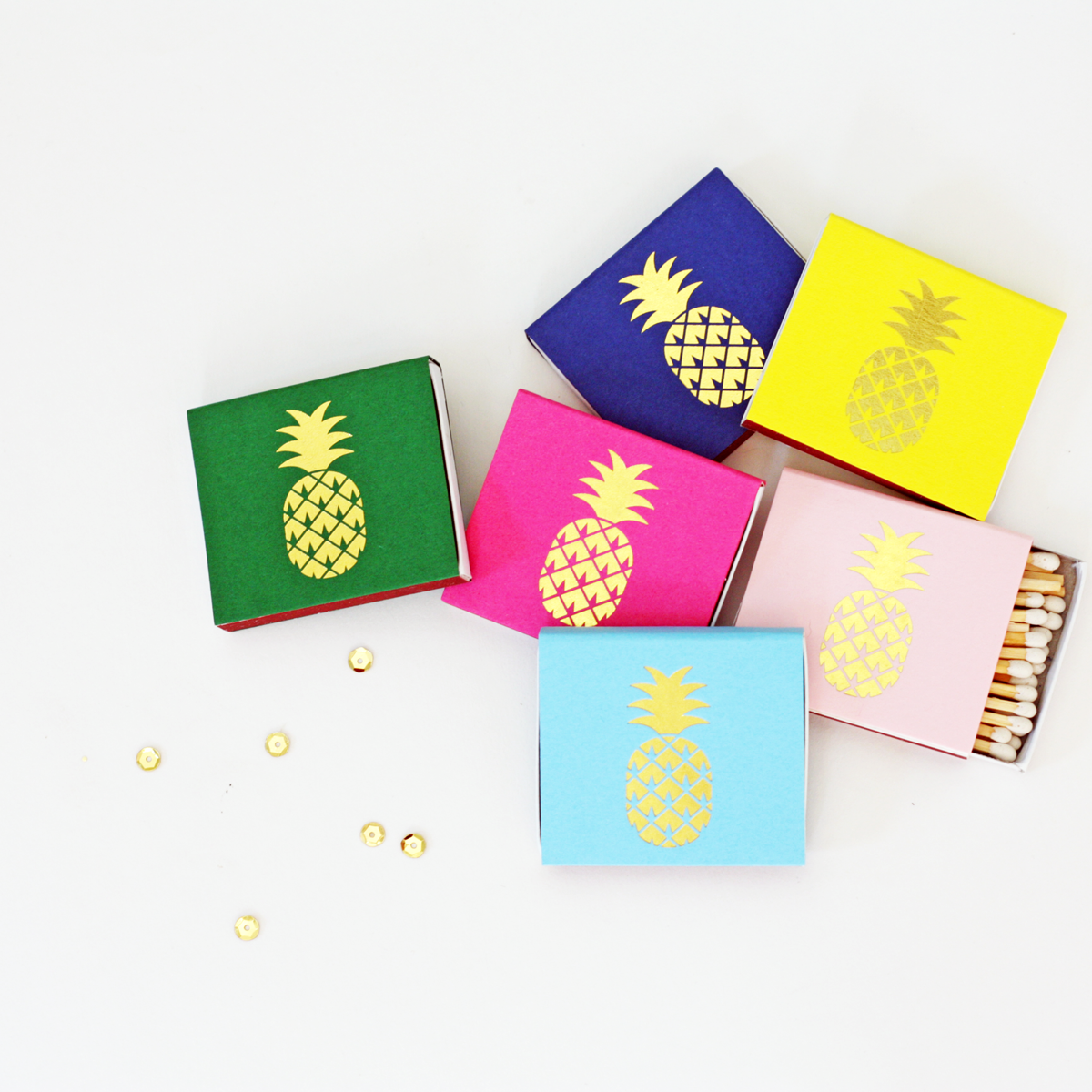 pineapple matches in gold foil
