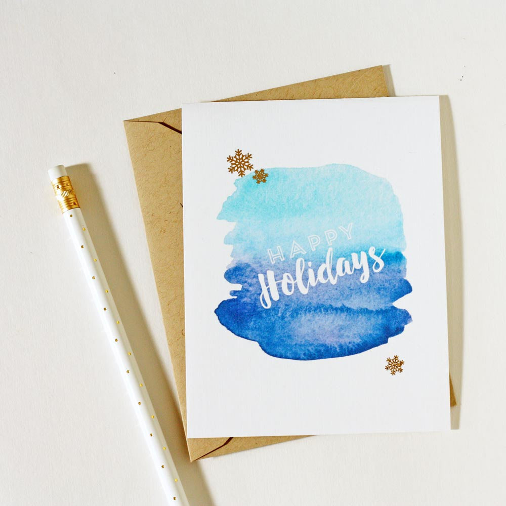 watercolor happy holiday cards