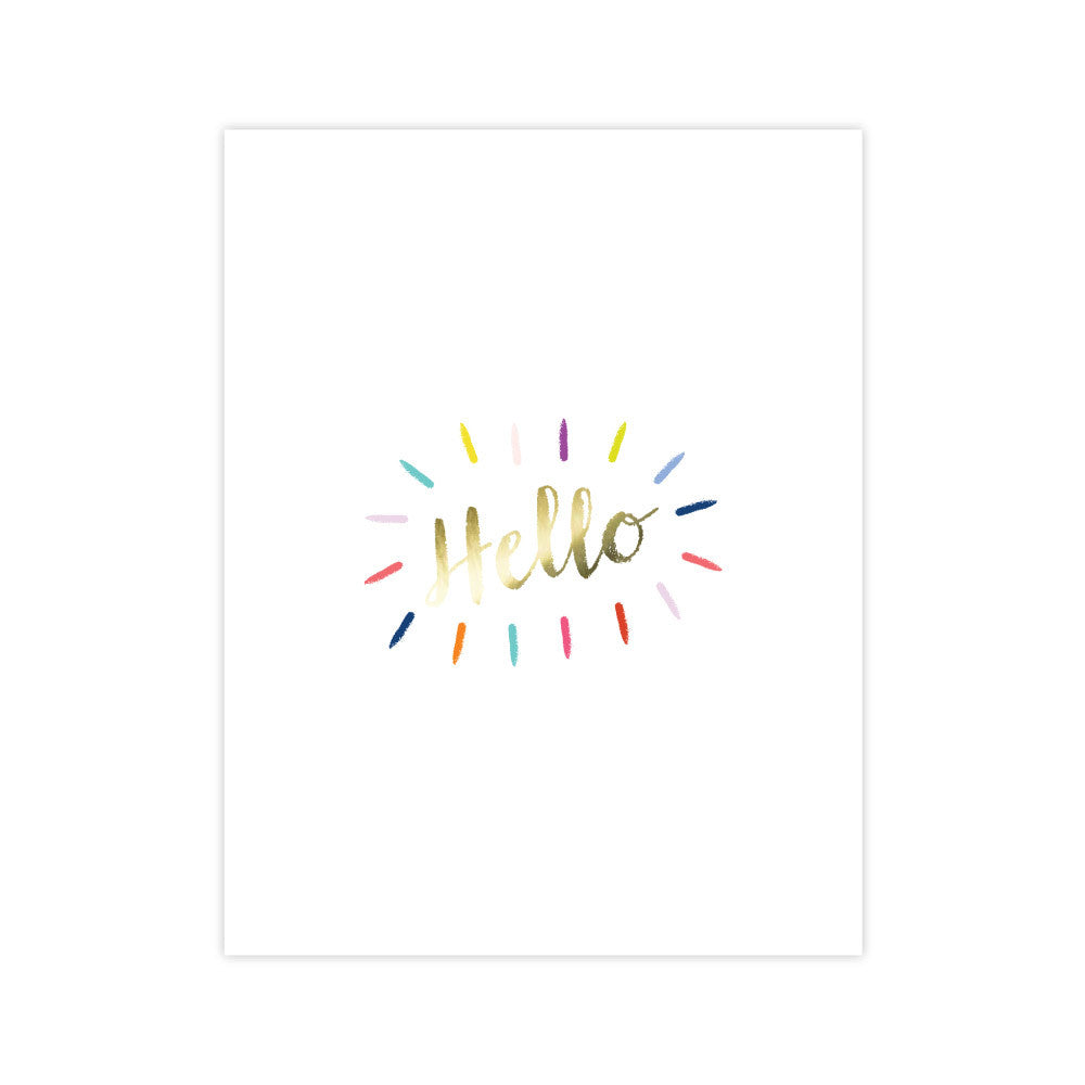 Hello foil Burst greeting card