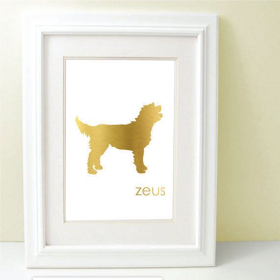 gold foil dog breed silhouette