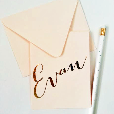 Gold Foil Script Personalized Stationery