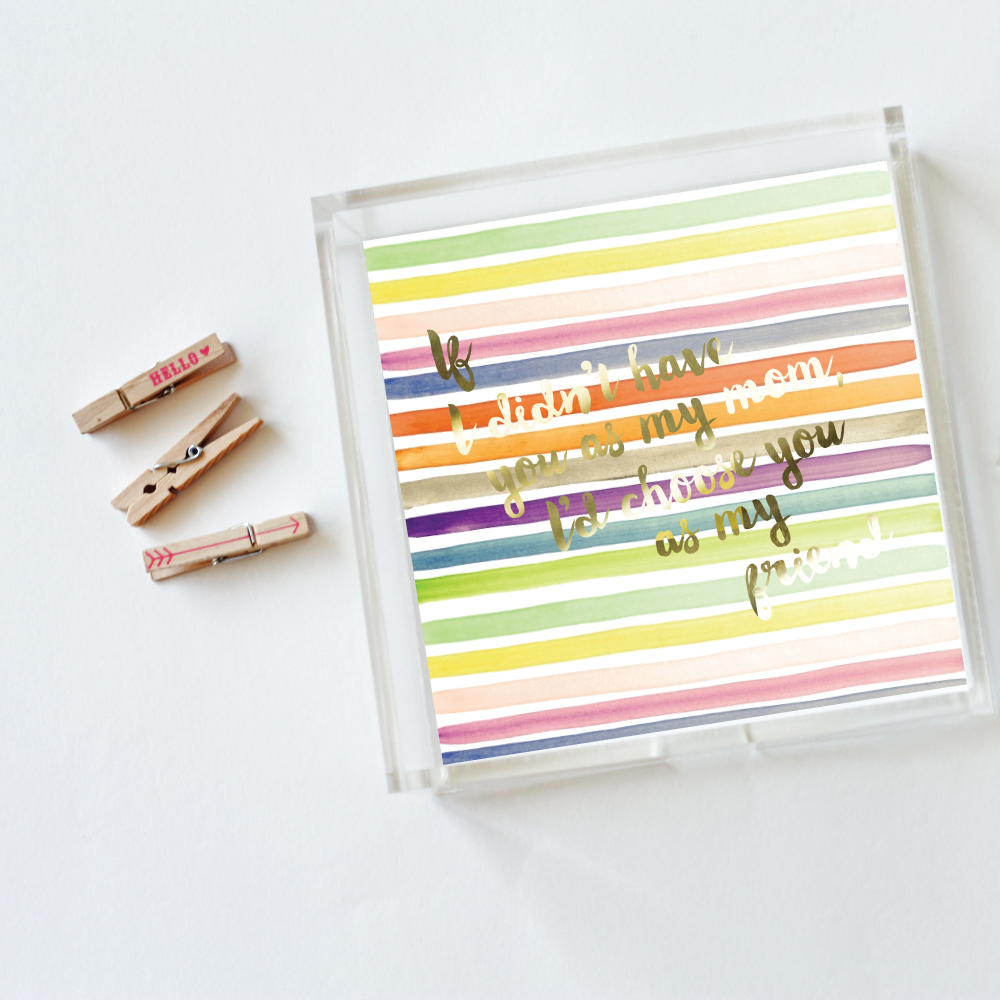 Watercolor Stripes Mother's Day Tray