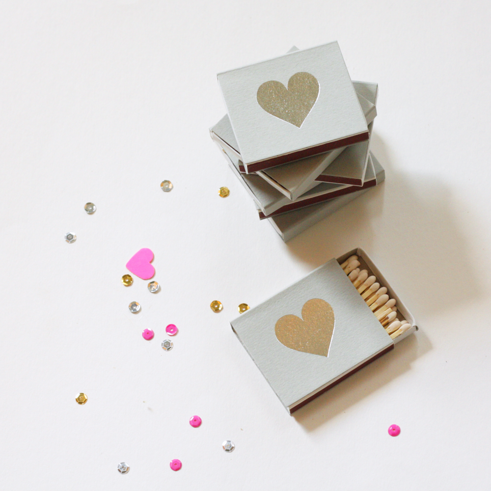 silver heart party favors matches