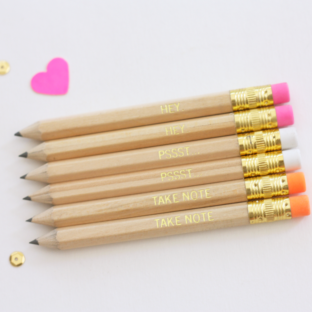 gold foil mini pencil set of 6