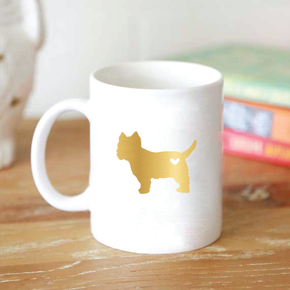 dog breed coffee mug silhouette