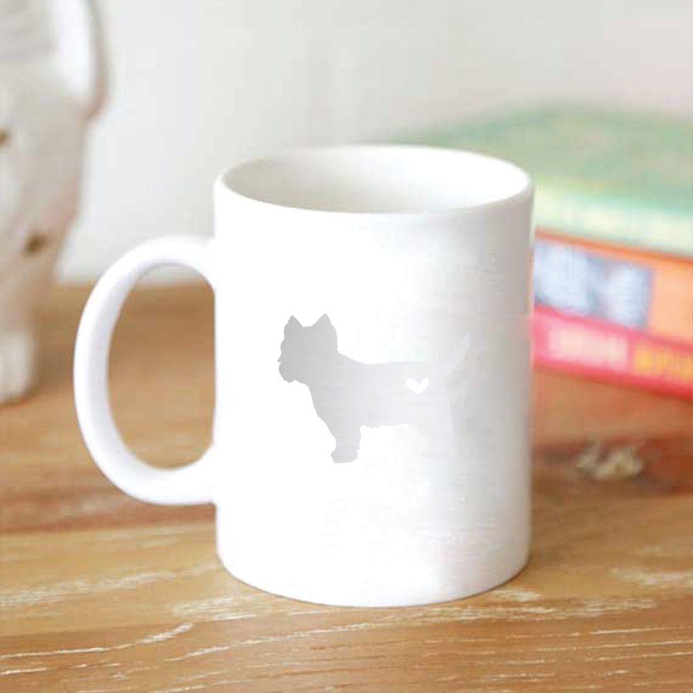 foil dog silhouette dog breed mug