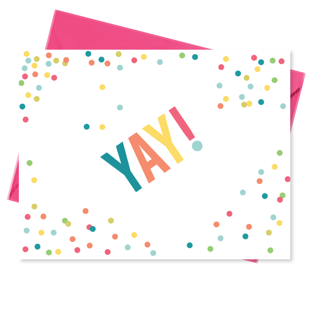 yay confetti note cards stationery