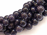 Blue Goldstone Beads 8mm Round 16in