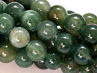 Moss Agate Beads 4mm Round 15.5 in