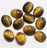 Tiger Eye Brown Cabochons 10x8mm Oval 4pc