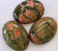 Unakite Cabochons 10x8mm Oval 4pc