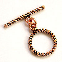 Toggle Clasp C06 Round Rope 16mm COPPER 4pc
