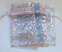 Organza Pouch Pastel with Pattern MED 12pc