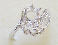 Rope Swirl Ring Setting 6mm SS Size 8