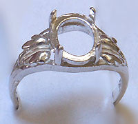Cabochon Leaf Ring Setting 10x8 Oval SS Size 7