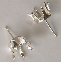 Earring Snap Settings 6mm Round SS 10pc