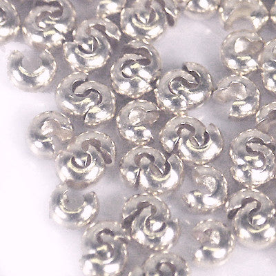 Crimp Bead Covers 3mm SILVERPLATE 144pc