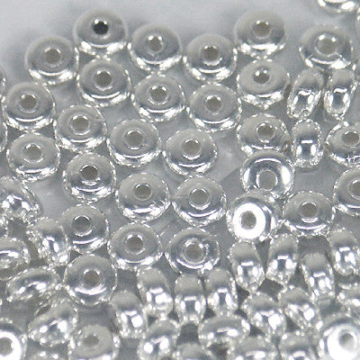 Metal Beads Rondelle 4.5x2.4mm SILVERPLATE 144pc