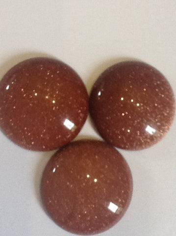 Brown Goldstone Cabochons 25mm Round 1pc