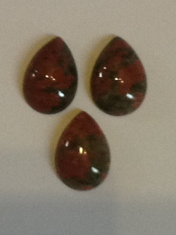 Unakite Cabochons 18x13mm Pear 3pc