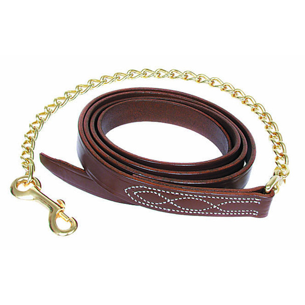 Walsh Fancy Stitch Leather Lead with Chain