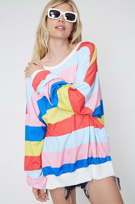 Fantastic Fawn Rainbow Long Sweatshirt-Royal/Yellow Multi